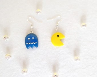 Pacman and Ghost fimo earrings