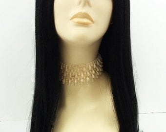 Long 22 inch Straight Black Lace Front Heat Resistant Wig. Cher Style Wig. Morticia Addams Style Wig.