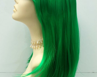 Long 20 inch Straight Green Wig. Cosplay Wig. Scene Wig. Festival Wig. Straight with Bangs. [17-116-MiaST-Green]