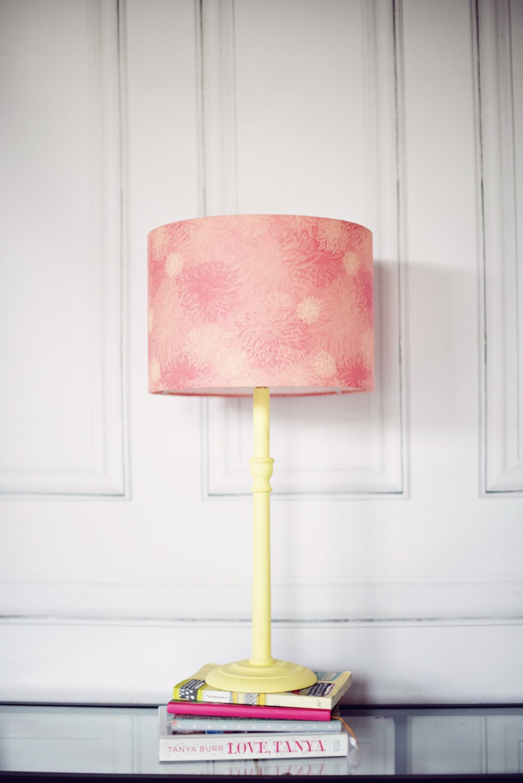 Pink Lamp Shade : Pink lamp shade lighting table floral