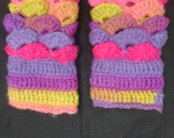 Crochet fingerless gloves in merino wool blend, long length, warm and snug