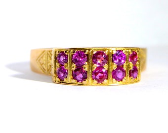 July Birthstone - Vintage 1970's Ruby and Gold Ring Size 7.5