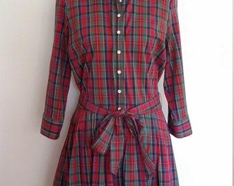 Plaid dress, shirtdress, S, M, plaid shirtdress, cotton dress, drop waist dress, fall dress, red plaid dress