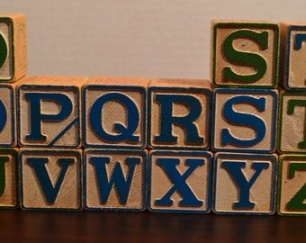 15 Vintage 1970's Wood Alphabet Letter Blocks