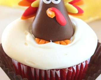 Fondant turkeys cupcake toppers set of 12- fondant turkeys, thanksgiving cupcake toppers,fondant fall leaves, turkey cupcake toppers,