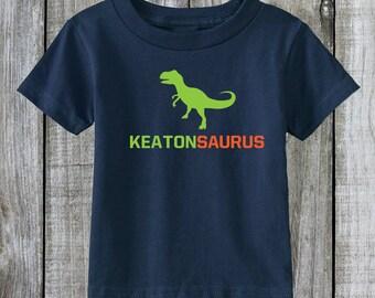 Kids Dinosaur Shirt. Kidsaurus T-Shirt Personalized with Kids Name  (1100)