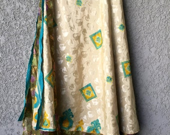 Green/cream adjustable Krishma skirt