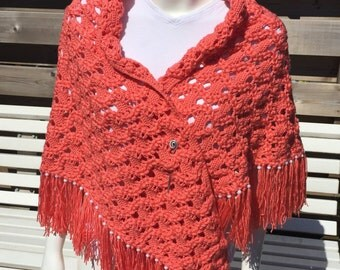 Rich Salmon/red-coloured scarf/shawl. Royal Salmon/Red colorful Scarf/Wrap