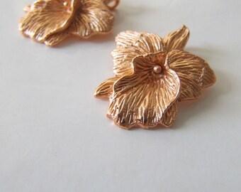 Rose or orchidée charm pendentif BIG 29x23mm, nature florale fleur bronze, conclusions de luxe balinaises Bali 925 Europe Royaume-Uni Allemagne France Italie