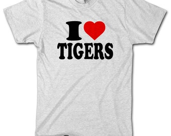 I LOVE TIGERS Animal Funny MENS Birthday Tshirt Boys T Shirt Top Novelty Present Gift