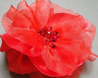Red flower Brooch pin Sewn Fabrics brooch Mothers day gift Gift for her Gift for women Birthday gift Gift for Wife