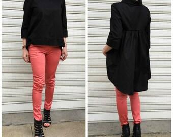 Black Asymmetric Loose Shirt / Asymmetric  Tunic Dress / Loose Maxi Blouse / Oversize Cotton Top / EXPRESS SHIPPING
