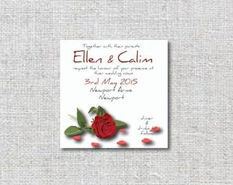 Printable wedding invite package, Red rose invites, unique wedding invite.