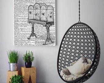 Bird cage Print, vintage print, vintage dictionary art, Dictionary print, victorian bird cage