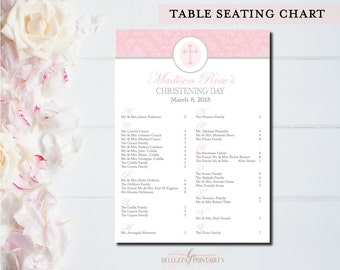 Christening/ Baptism Table Seating Chart -Printable Table Seating Chart Pink/Grey