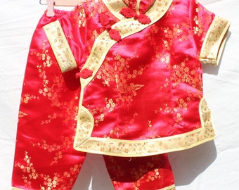 Child's red and gold Chinese pyjamas; pajamas; vintage; size 2; cheongsam style