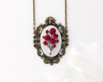 Red Rose Pendant, Statement Necklace, Romantic Gift, Long Necklace, Wearable Embroidery, Embroidered Pendant, Anniversary Gift. Flower Charm