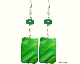 Rectangular Green Mother Pearl Shell Jade 925 Silver Earrings, Healing Chakra Cancer Gemini Earring,  Choose Style,