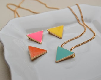 Enamel triangle necklace - geometric necklace - gold necklace - necklace neon - neon necklace - necklace - choose the size and color