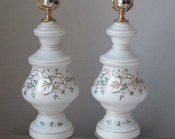 Vintage Pair of Frosted Glass and Brass Lamps Hollywood Regency Hand Painted
