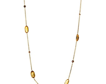 Gemstone Station Necklace 14k Yellow Gold - Gemstone Necklace For Women - Birthday Gift Ideas for Her - For Mom - Mother's Day Gift