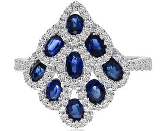 Sapphire & Diamond Lattice Ring 14k White Gold - Fashion Rings for Women, Mother's Day Gifts For Her - Anniversary Gifts - Sapphire Rings