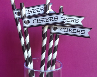 40 Paper Straws, Striped Straws,Wedding, Paper Straws, Paper Straws With Flags