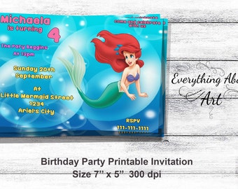 The Little Mermaid  Invitation, Ariel Birthday Invitation, Little Mermaid Birthday Invite, Ariel Mermaid Invites, PERSONALIZED Party Invites