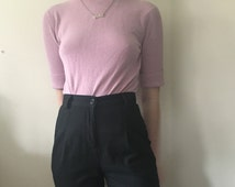 light baby pink lilac short sleeve mock turtleneck sweater top shirt / 80s 90s / babygirl kenneth cole small stretchy wool clueless shirt