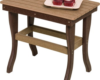 Recycled Poly Lumber Outdoor 1 Or 2 Tier End Table OR Coffee Table    PREMIUM Colors