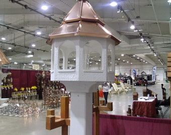 Double Copper top Roof Bird Feeder Amish Made in USA X-Large 27 inches TALL