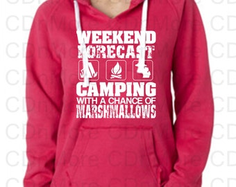 Camping Hoodie Weekend Forecast Campers Campfire Tent Michigan Up North Memorial Day Handmade Marshmallows Fourth of July Summer Sweatshirt