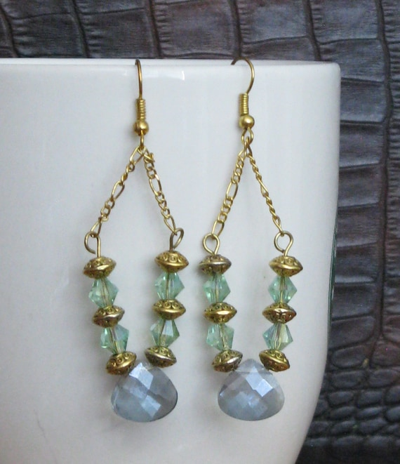 Blue & Green Crystal Chandelier Earrings by QueenBeeToday ...