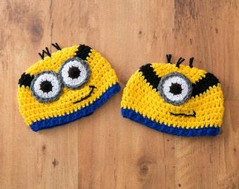 Crochet Minion Hat, Minion Beanie, Minion Hat, Minion, One Minion Hat, Two Minion Hat, Despicable Me Minions, Minions, Crochet Minions
