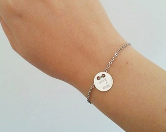 Stainless steel chain bracelet with silver plate and make a wish