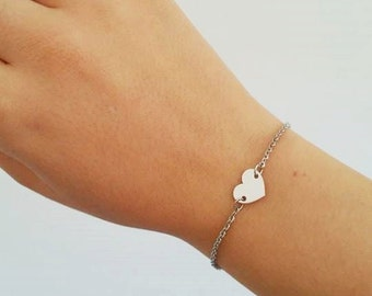 Stainless steel chain bracelet and Silver 925 heart connector