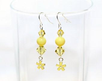 Yellow Flower Charm Earrings - Beaded Charm Earrings - Dangle Earrings