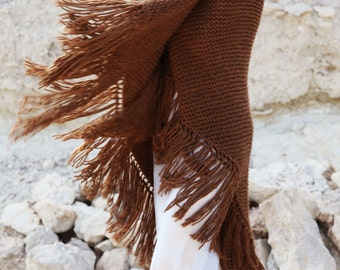 Tabbaco brown knitted boho Lagenlook extra large beautiful shawl,shoulder scarf.