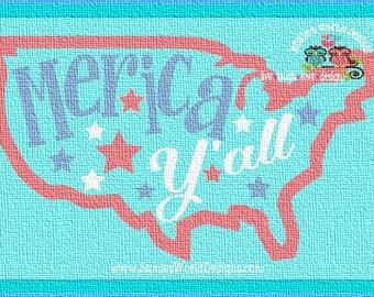 Merica Y'all - stars - usa - SVG/DXF/PNG -  usa, patriotic, July 4th - Cut - studio - cricut Printable File