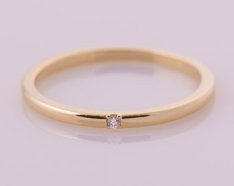 Thin Single Diamond Band, 14K Yellow Gold Stacking Ring, Stackable Band, Tiny Diamond Ring, Dainty ring, Promise ring, Gift Ring