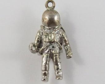 Astronaut With Jetpack Sterling Silver Vintage Charm For Bracelet
