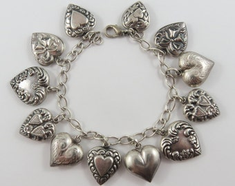 """7"""" Vintage Puffy Heart Sterling Silver Charm Bracelet With 12 Charms"""