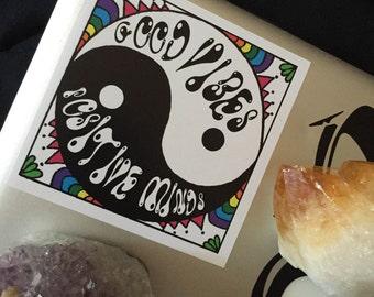 Hand drawn Sticker, Good Vibes Sticker, Yin Yang, Laptop Sticker, Decorative Sticker