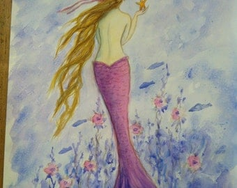 "Mermaid print, 11"" x 14"" by Tina Obrien, 'Mermaid in Her Sea Garden'"