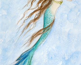 "Mermaid print, 11"" x 14"" by Tina Obrien, 'Mermaid and Her Seahorse' , beach art"