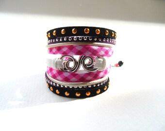 Cuff bracelet, Rock cuff, fuchsia and black bracelet, textile cuff, checked cotton cuff, infinity cuff