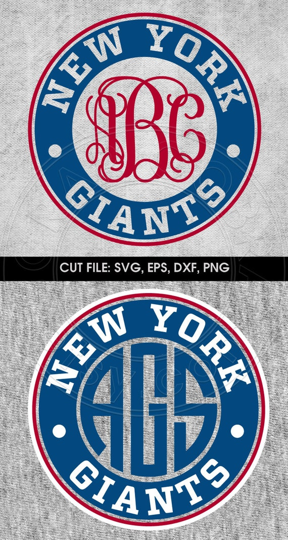 Football new york giants monogram frame svg eps dxf by