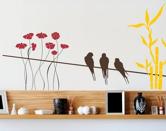 Birds on Wire with Flowers Design - Full Color Wall Decal