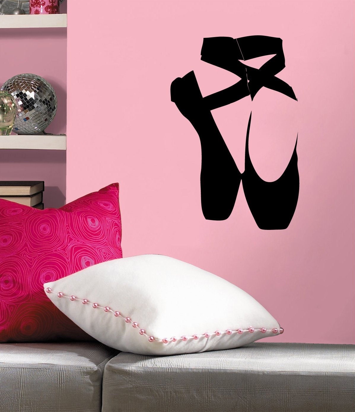 Ballet slippers ballerina dancer room d cor wall decal for Ballet shoes decoration