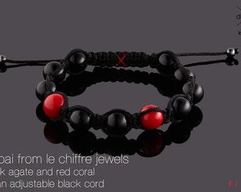 Dubai black agate and red coral shamballa bracelet